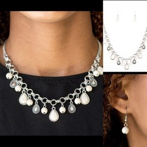 Jewelry - Silver White Necklace Earring Jewelry Matching Set